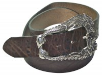 FRONHOFER belt 100% natural leather, vintage finish, dragon buckle, plus sizes available