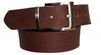 FRONHOFER Classic men's leather belt, dress belt, square silver buckle and keeper