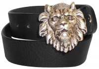 FRONHOFER belt with Lion Head buckle, genuine leather Belt with big lion buckle