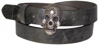 JOLLY: skull buckle leather belt with genuine vintage effect leather