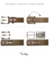 FRONHOFER Interchangeable belt | ECO Belt without a buckle | Real natural leather strap + Vintage look | Plus sizes