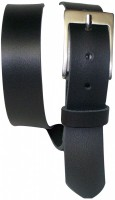 Classic black leather belt with a minimalist silver buckle, cowhide leather