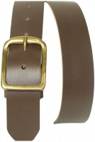Basic belt made of real leather with a solid brass buckle