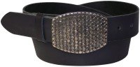 Cool inexpensive black belt, real cowhide leather, textured solid metal buckle
