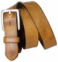 DIRK: Cool and classic men's leather belt, topstitching, matte silver buckle