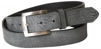 CLAUDE: Chic real men's leather belt, silver-plated buckle, topstitched edges