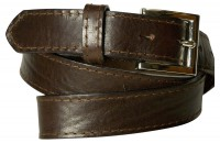 HAMBURG: Classic real leather suit belt for men, topstitched edges, silver belt buckle
