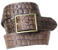 BILLY: Crocodile leather belt with a rectangular brass buckle, croc-embossed belt, interchangeable