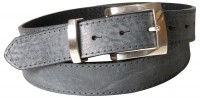 JEAN: Chic real men's leather belt, silver-plated buckle & loop, topstitched edges