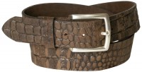 DANIEL 2: Men's croc-embossed leather belt, silver-plated buckle, cowhide leather, 1.5 /4 cm, interchangeable