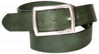 CARLO: Natural eco-leather men's belt with a rectangular silver-plated buckle, interchangeable
