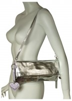 N.Y. Bag: Super-chic clutch, handbag in fine Napa leather, black, silver, dark silver metallic