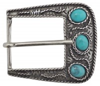 EVI Turquoise embellished rectangular silver buckle for women, for belts 1.2 /3 cm in width
