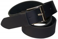 KAI Men's genuine leather belt, buffalo leather jeans belt, silver side-bar buckle, 1.5 /4cm, with screw for shortening