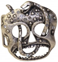 FRONHOFER Skull and snake buckle in antique silver with rhinestones, 1.5 /4cm belts 18201