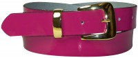 "BRIT 3: patent leather belt with a gold buckle and keeper, 1.2""/3cm wide"