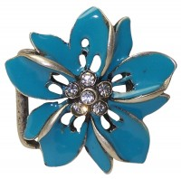 HAWAII flower belt buckle in turquoise with rhinestones, for women, 1.2 /3cm buckle