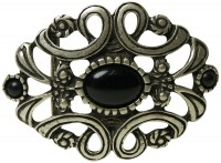 BLACK GEMS large belt buckle with a floral pattern and black stones, buckle for women, 1.5 /4cm