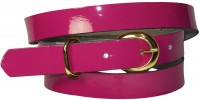 "SHEA: Women's skinny patent leather belt with a gold buckle 0.8""/2 cm 18251"